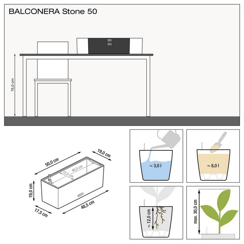 LECHUZA BALCONERA Stone 50 Poly Resin Window Box Self-watering Planter with Substrate H19 L50 W19 cm