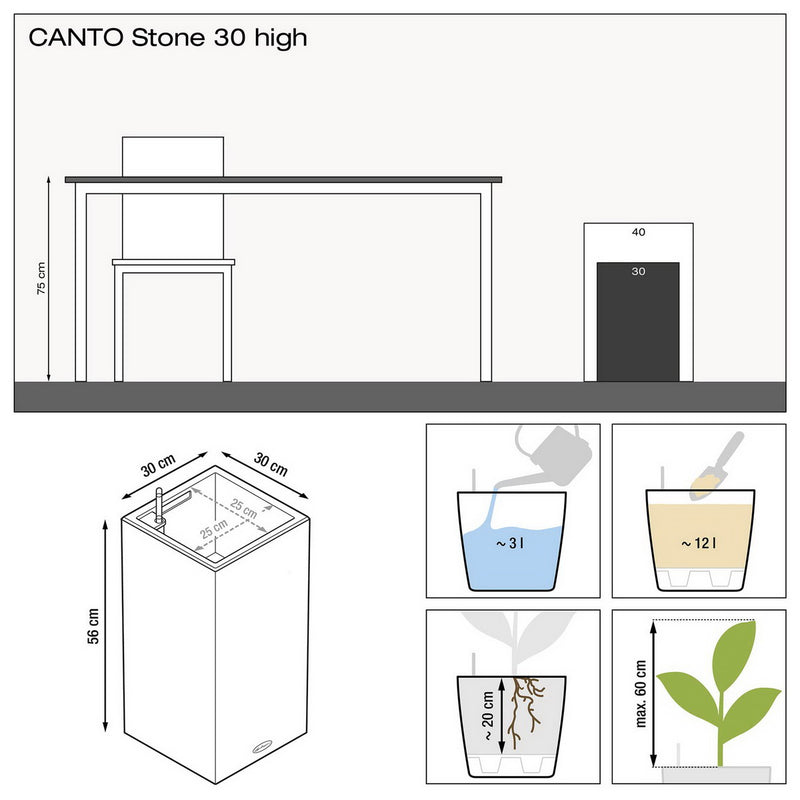 LECHUZA CANTO Stone 30 High Poly Resin Floor Self-watering Planter with Substrate H56 L30 W30 cm