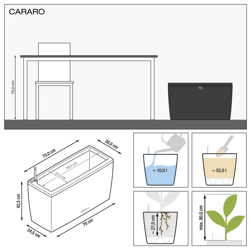 LECHUZA CARARO 75 Poly Resin Floor Self-watering Planter with Substrate H43 L75 W30 cm