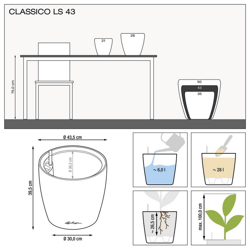 LECHUZA CLASSICO 43 LS High-gloss Poly Resin Floor Self-watering Planter with Substrate D43 H40 cm