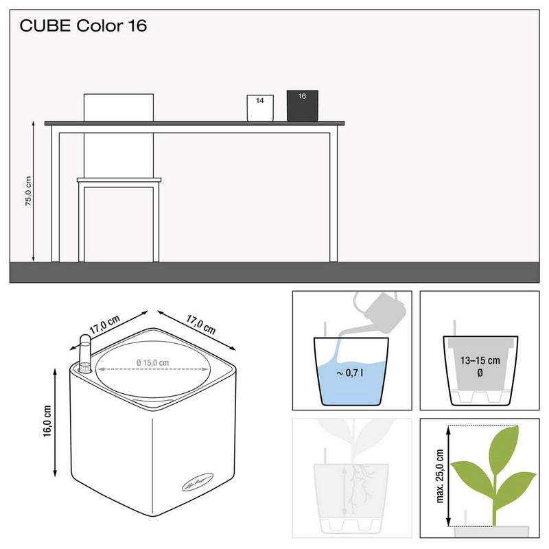 LECHUZA CUBE Color 16 Poly Resin Table Self-watering Planter H16 L17 W17 cm