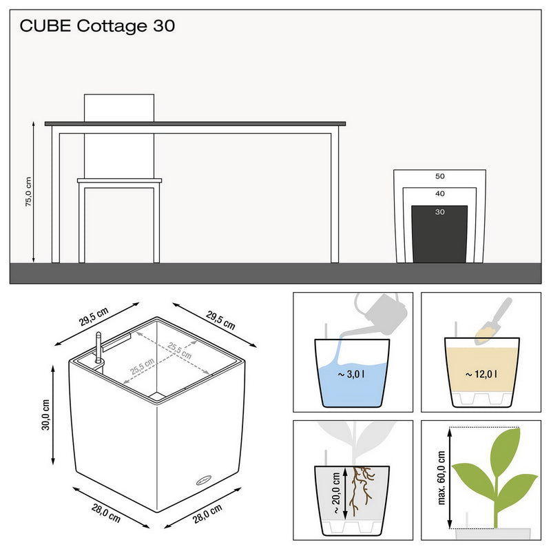 LECHUZA CUBE Cottage 30 Poly Resin Floor Self-watering Planter with Substrate H30 L30 W30 cm