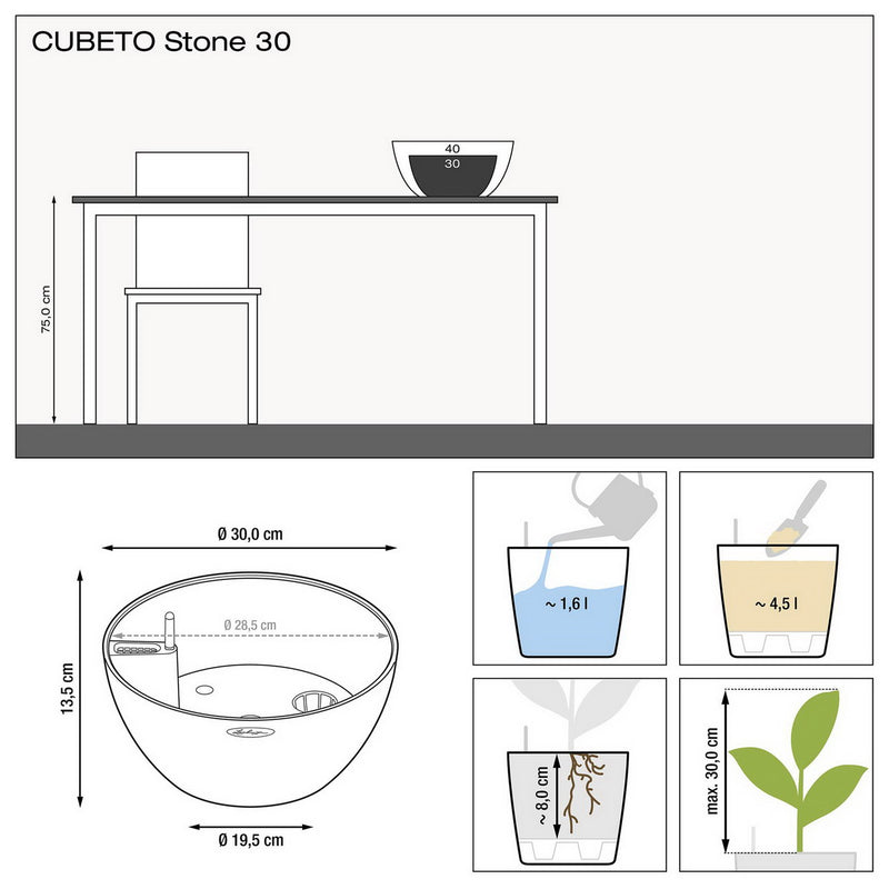 LECHUZA CUBETO Stone 30 Poly Resin Table Self-watering Planter with Substrate D30 H13 cm