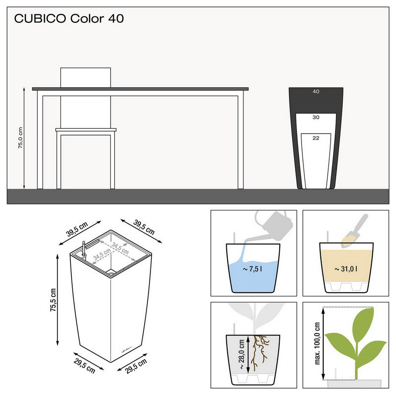 LECHUZA CUBICO Color 40 Poly Resin Floor Self-watering Planter with Substrate D40 H75 cm