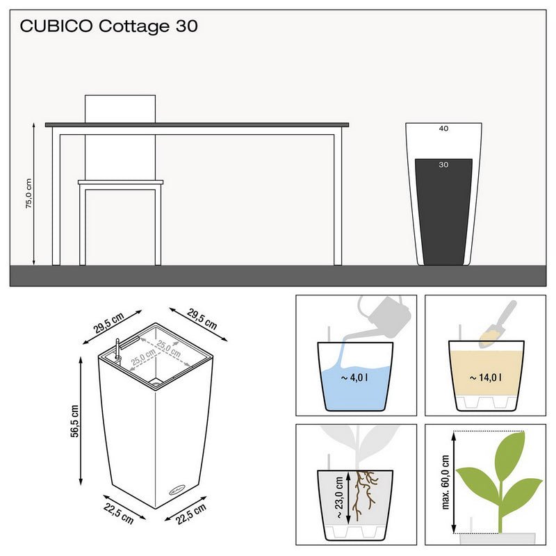 LECHUZA CUBICO Cottage 30 Poly Resin Floor Self-watering Planter with Substrate H56 L30 W30 cm