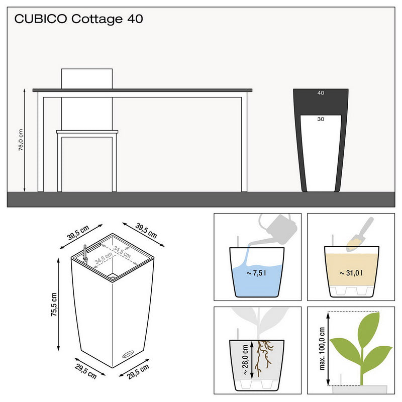 LECHUZA CUBICO Cottage 40 Poly Resin Floor Self-watering Planter with Substrate H75 L40 W40 cm