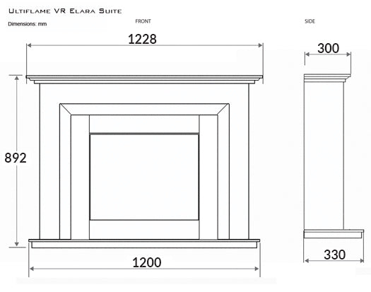 "Celsi Ultiflame VR Elara 22"" Electric Fireplace Suite - Smooth Mist"