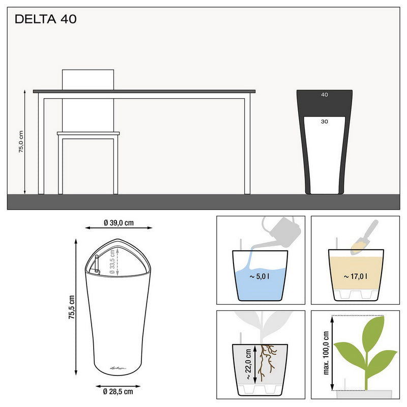 LECHUZA DELTA 40 High-gloss Poly Resin Floor Self-watering Planter with Substrate D40 H75 cm