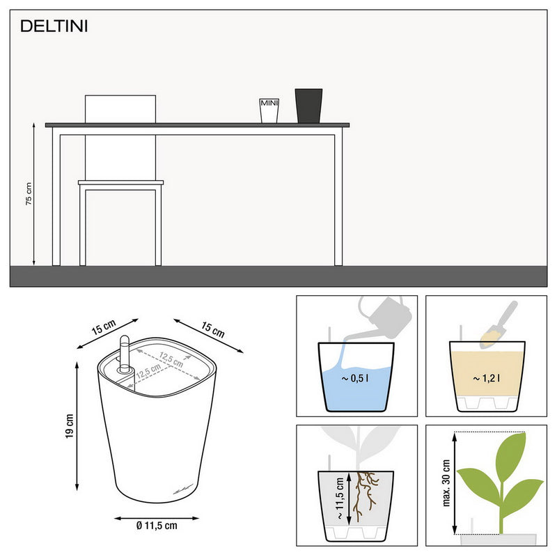 LECHUZA DELTINI Table High Gloss Poly Resin Table Self-watering Planter with Substrate D14 H18 cm