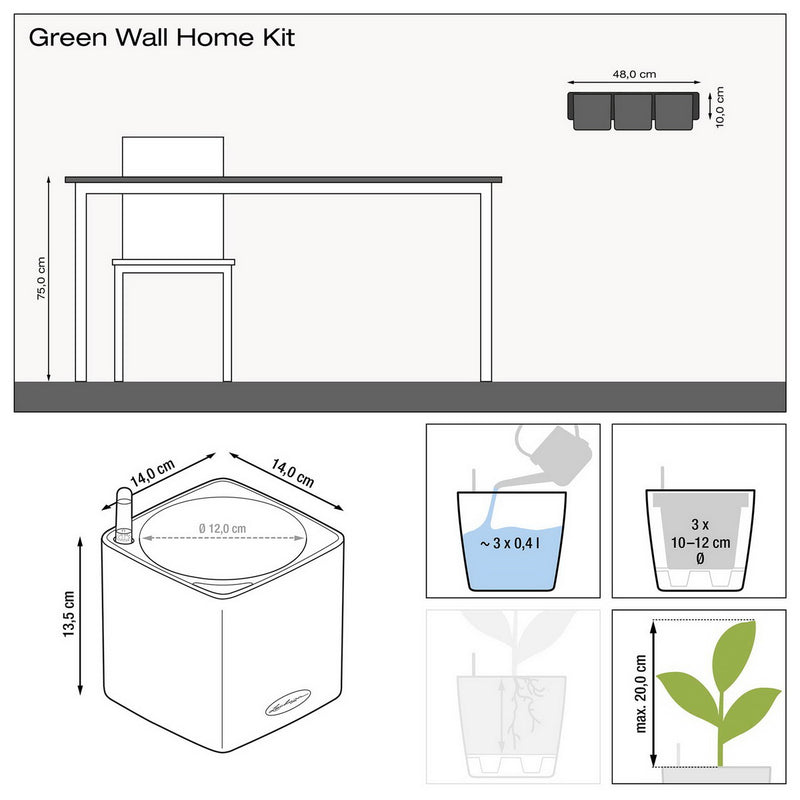 LECHUZA Green Wall Home Kit Glossy High Gloss Hanging Poly Resin Self-watering Planter with Substrate H14 L48 W15 cm