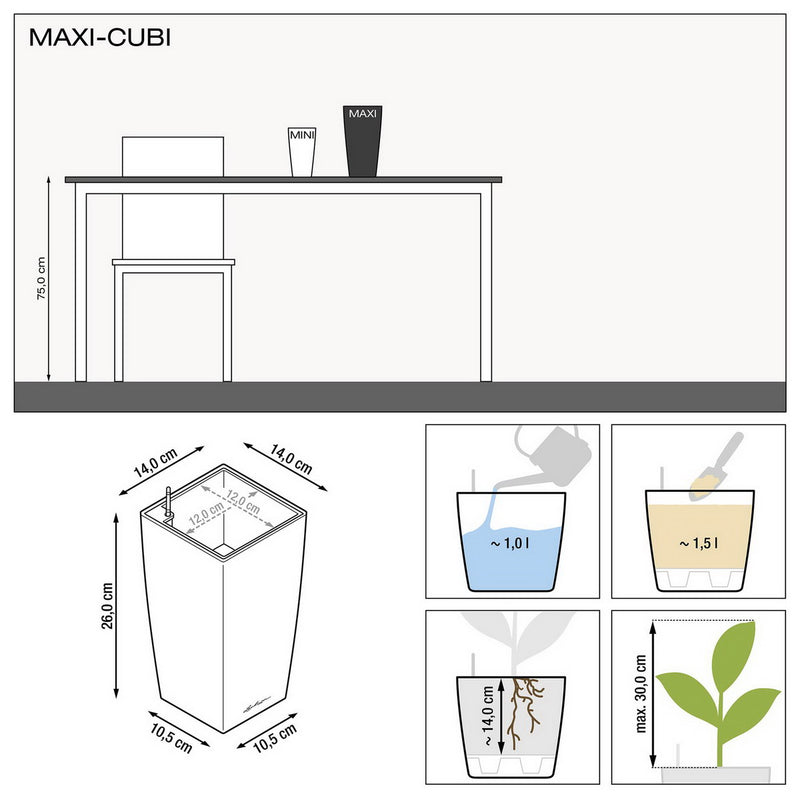 LECHUZA MAXI CUBI Table Metallic Poly Resin Table Self-watering Planter with Substrate H26 L14 W14 cm