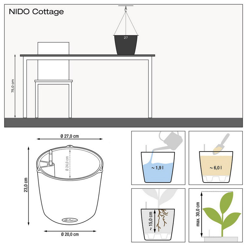 LECHUZA NIDO Cottage 28 Hanging Poly Resin Self-watering Planter with Substrate D27 H23 cm