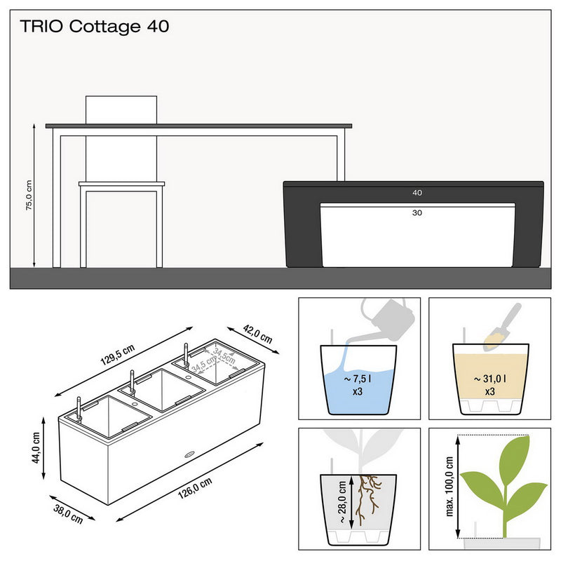 LECHUZA TRIO Cottage 40 Poly Resin Floor Self-watering Planter with Substrate H44 L130 W42 cm