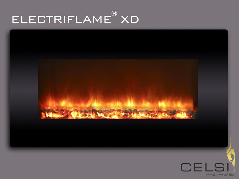 Celsi Electriflame XD 1300 Wall Mounted Electric Fire - Black Glass