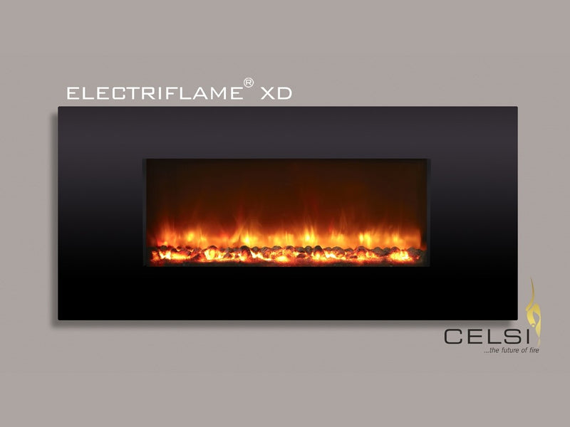 Celsi Electriflame XD 1300 Wall Mounted Electric Fire - Piano Black