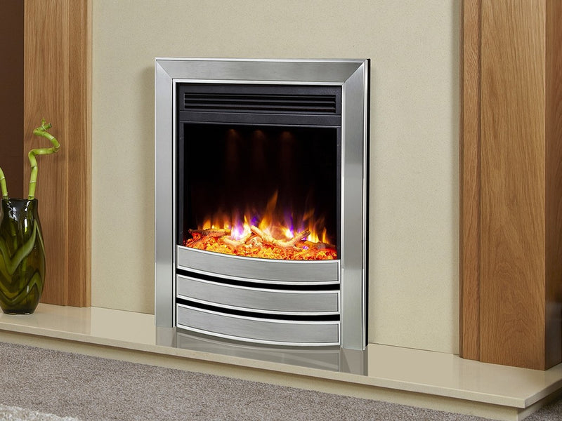 Celsi Electriflame XD Signature Satin Electric Fire - Silver and Chrome