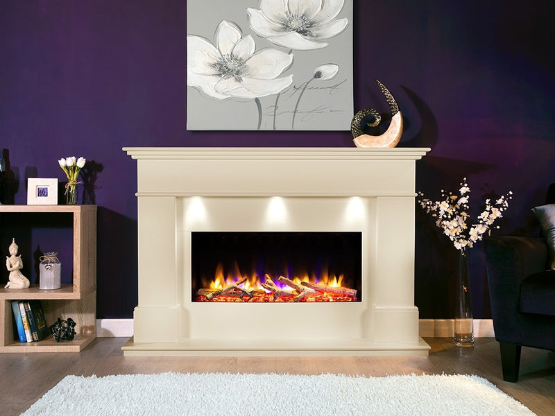 "Celsi Ultiflame VR Adour Elite Illumia 33"" Electric Fireplace Suite - Smooth Cream"