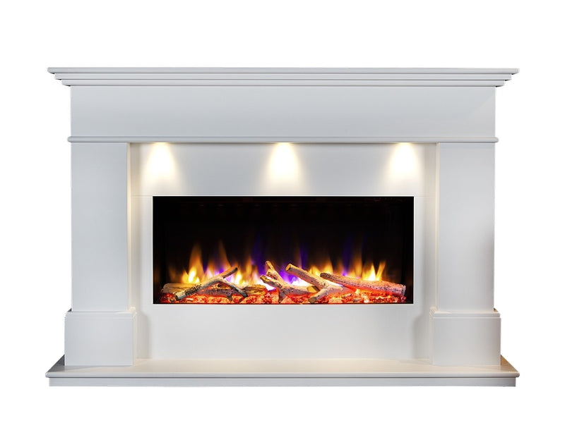 "Celsi Ultiflame VR Adour Elite Illumia 33"" Electric Fireplace Suite - Smooth White"