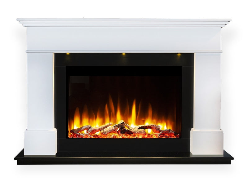 Celsi Ultiflame VR Adour Aleesia Illumia Electric Fireplace Suite - Black Hearth Smooth White
