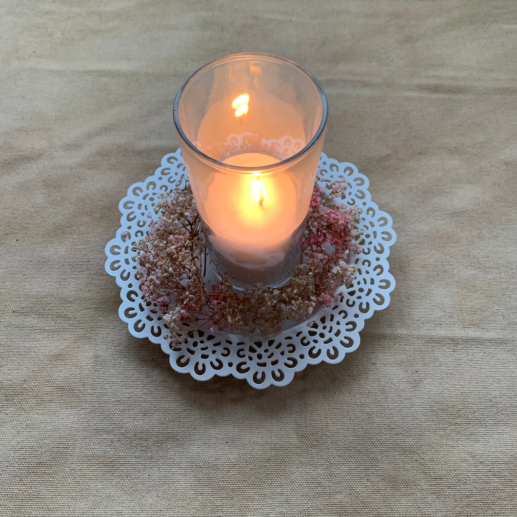 Rental Item - White Metal Candle Plate