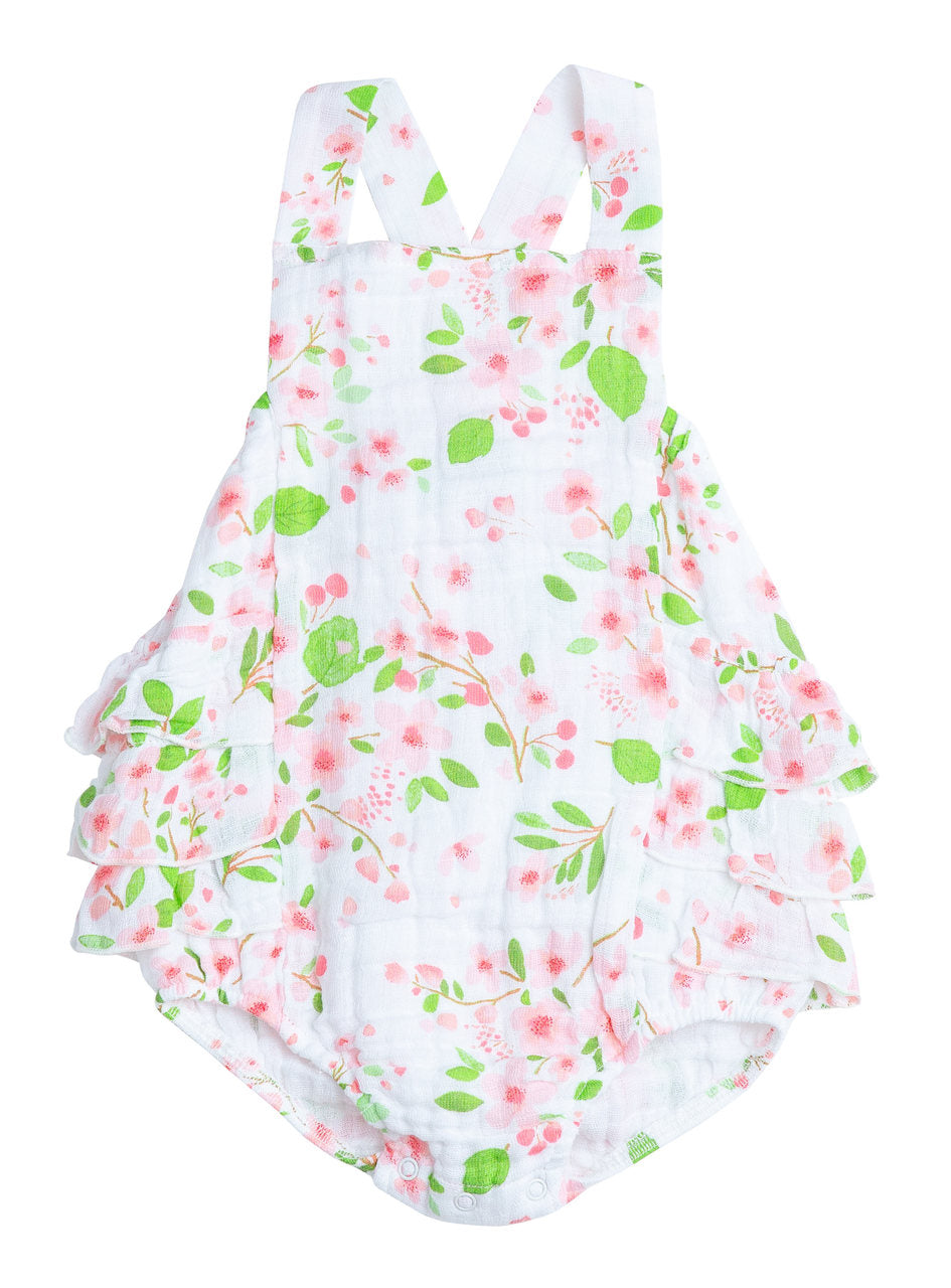 Angel Dear Sunsuit with Ruffle Back - Cherry Blossom