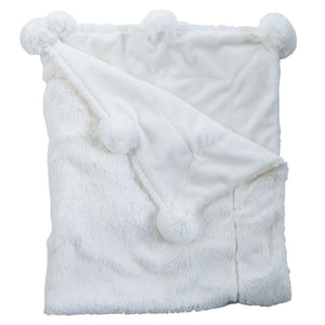 Mud Pie Ivory Pom-Pom Minky Throw Blanket