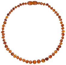 "Load image into Gallery viewer, Powell's Owl's Amber Teething Necklace 12.5"" - Baroque Unpolished Cognac"