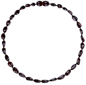 "Powell's Owls Amber Teething Necklace 12.5"" - Beans Polished Cherry"