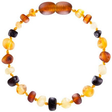 "Load image into Gallery viewer, Powell's Owl's Amber Teething Bracelet 5.5"" - Baroque Unpolished Multi 4 Color"