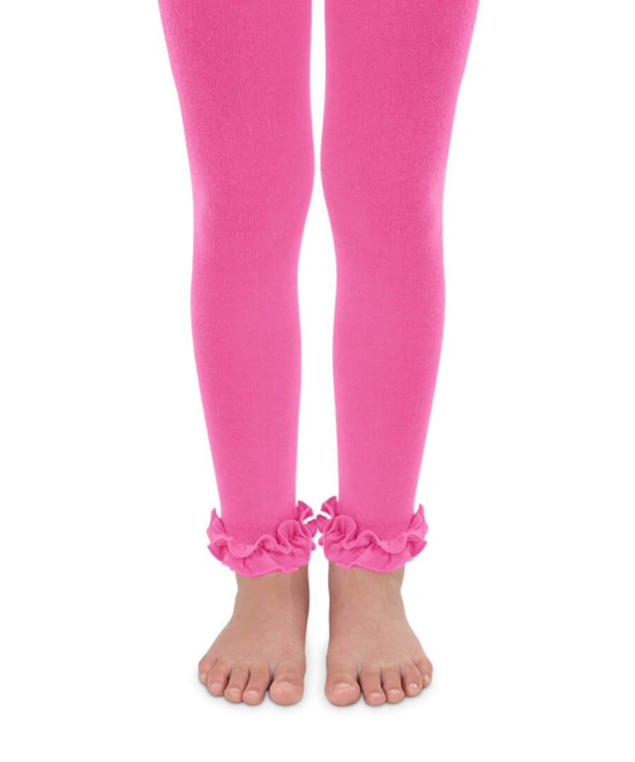Jefferies Socks - Girls Pima Cotton Ruffle Footless Tights (4 color options)