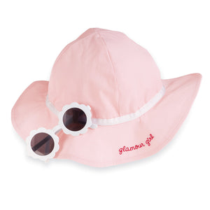 Mud Pie Glamour Girl Pink Hat & White Sunglass Set