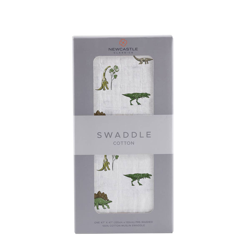 Newcastle Classics Cotton Muslin Swaddle Blanket - Dino Days