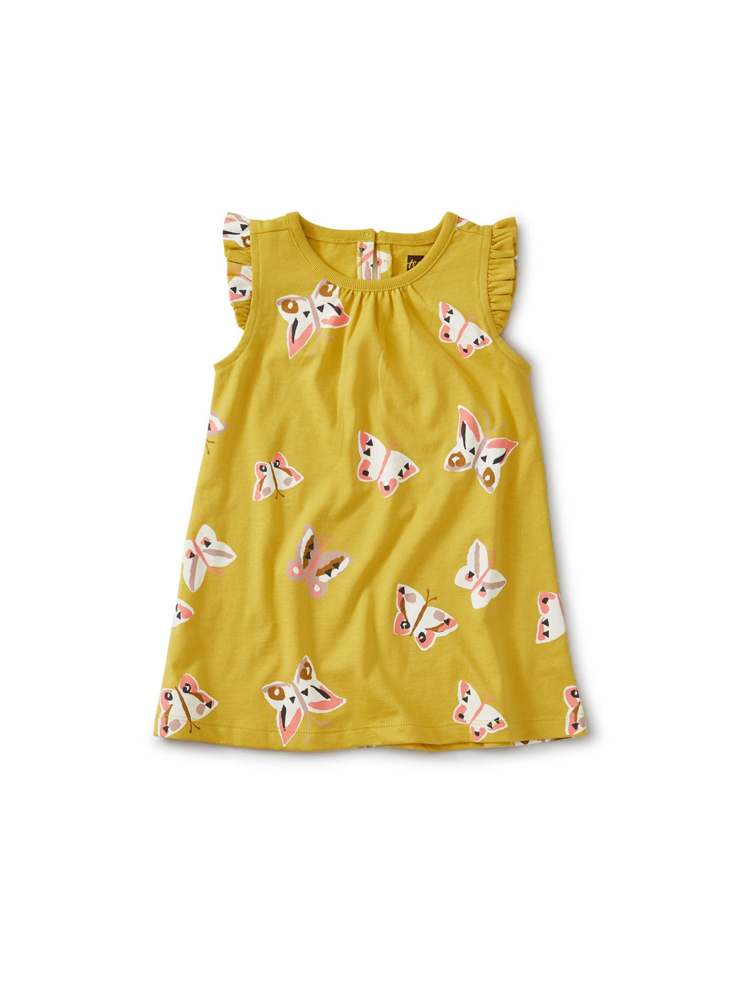 Tea Collection Ruffle Shoulder Baby Dress - Butterfly-Acacia
