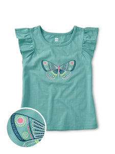Tea Collection Embroidered Butterfly Tee