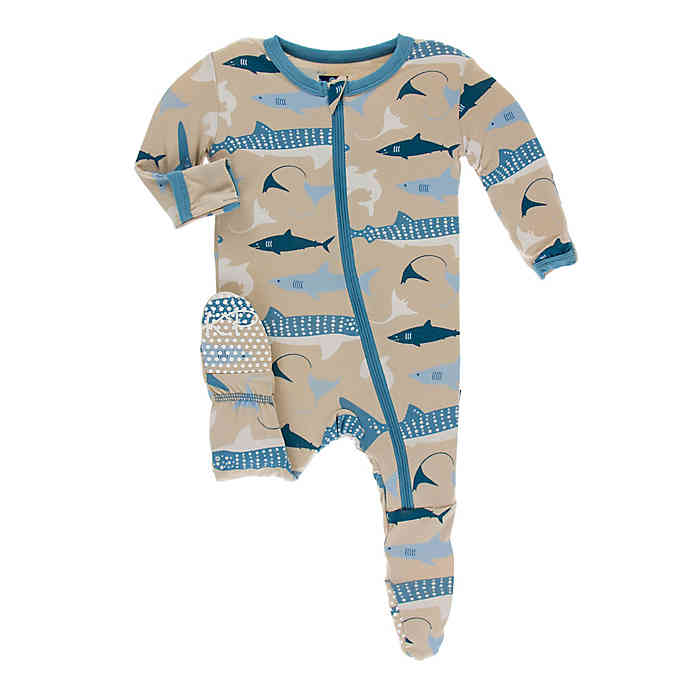 KicKee Pants Footie with Zipper Burlap Sharks