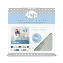 "Load image into Gallery viewer, Lulujo ""I Will Move Mountains"" Baby's First Year Blanket & Cards Set"