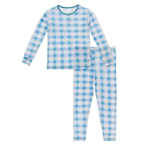 Kickee Pants Long Sleeve Pajama Set - Blue Moon Plaid