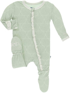 KicKee Pants Ruffle Footie with Zipper Aloe Venus Orbit