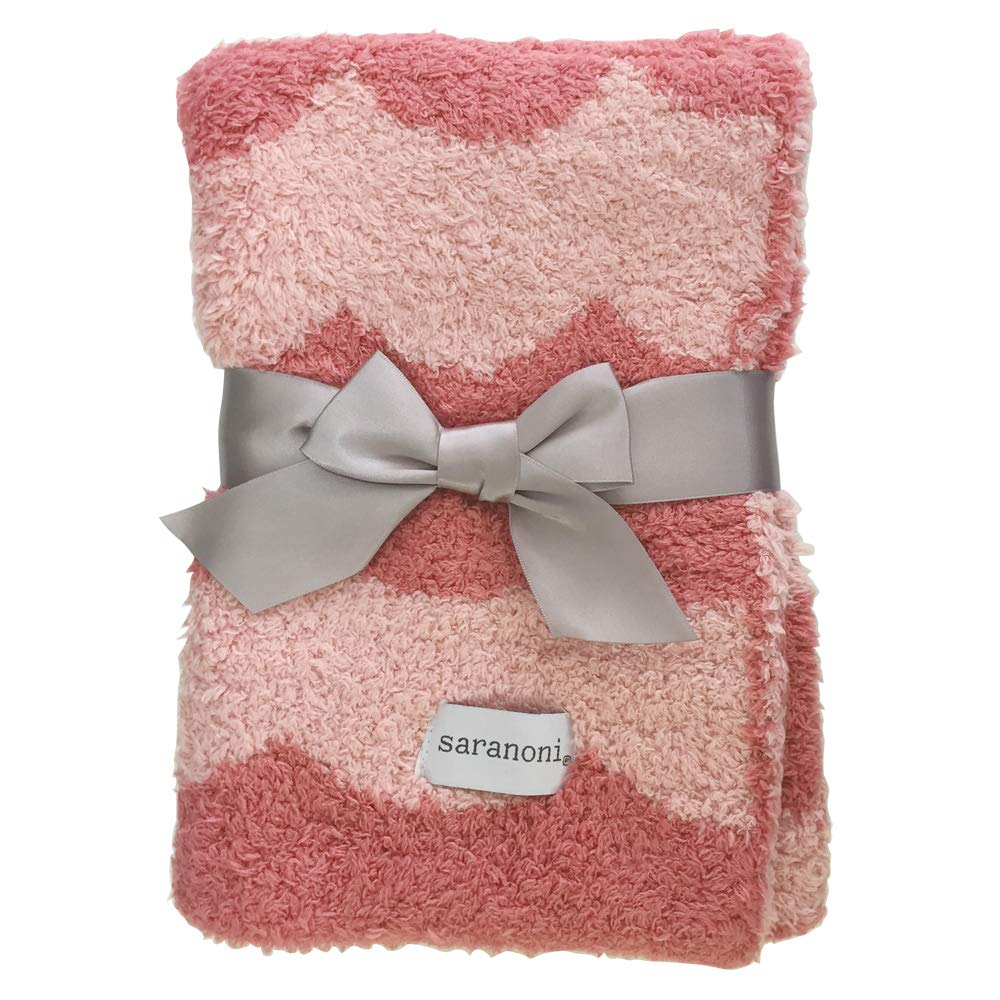 Saranoni Double-Layer Bamboni Receiving Blanket - Pink Scallop