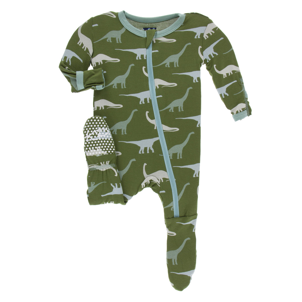 KicKee Pants Footie with Zipper Moss Sauropods