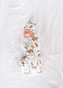 Copper Pearl Knit Swaddle Blanket - Lumberjack