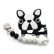 Load image into Gallery viewer, Loulou Lollipop Boston Terrier Silicone Teether/Clip Set