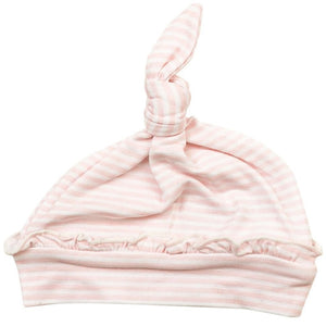 Angel Dear Knotted Ruffle Hat - Pink Stripes