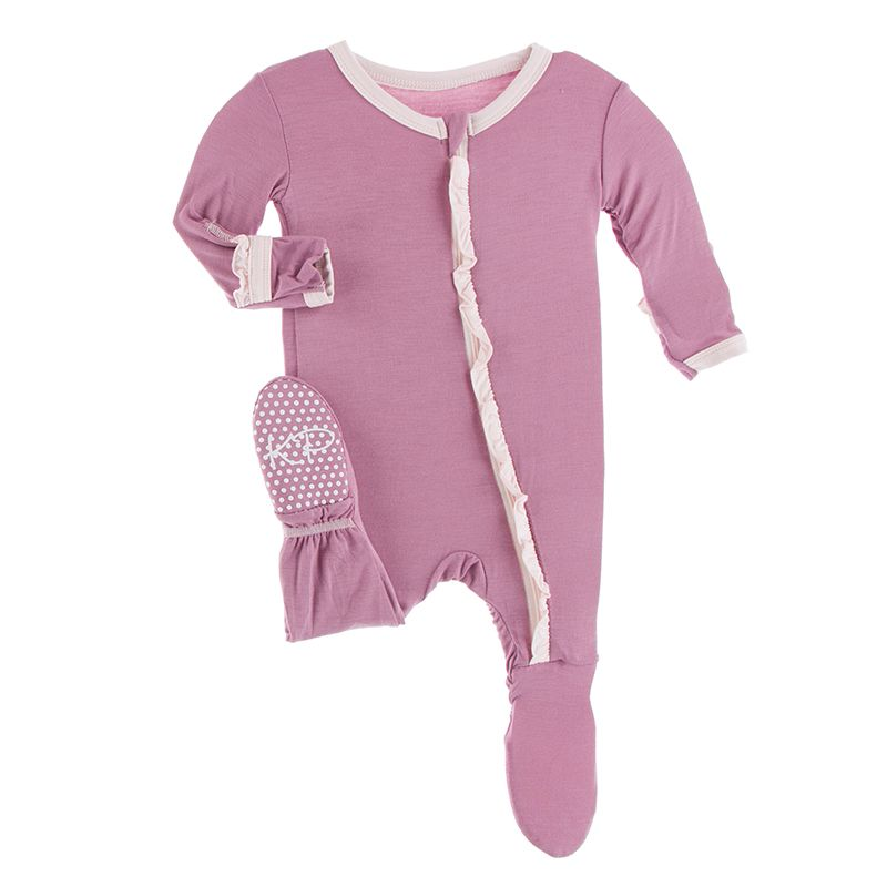 Kickee Pants Solid Ruffle Footie with Zipper - Pegasus with Macaroon