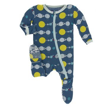 Kickee Footie with Zipper Twilight Planets
