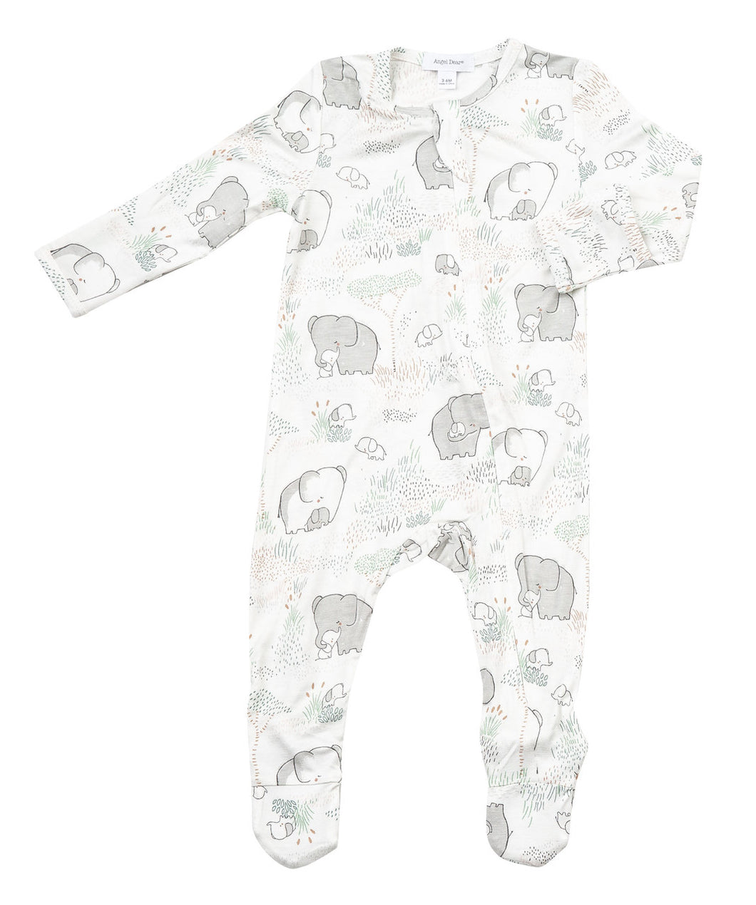 Angel Dear Zipper Footie - Grey Elephant Family