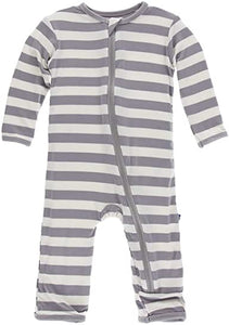 KicKee Pants Coverall with Zipper Feather Contrast Stripe