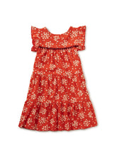 Load image into Gallery viewer, Tea Collection Tassel Trim Tiered Dress - Scarlet Wildflowers