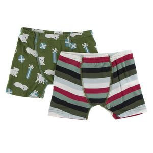 KicKee Pants Boys Boxer Briefs (Set of 2) Christmas Multi Stripe & Moss Puppies and Presents