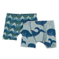 KicKee Pants Boys Boxer Briefs (Set of 2) Ivy Waves & Jade Whales